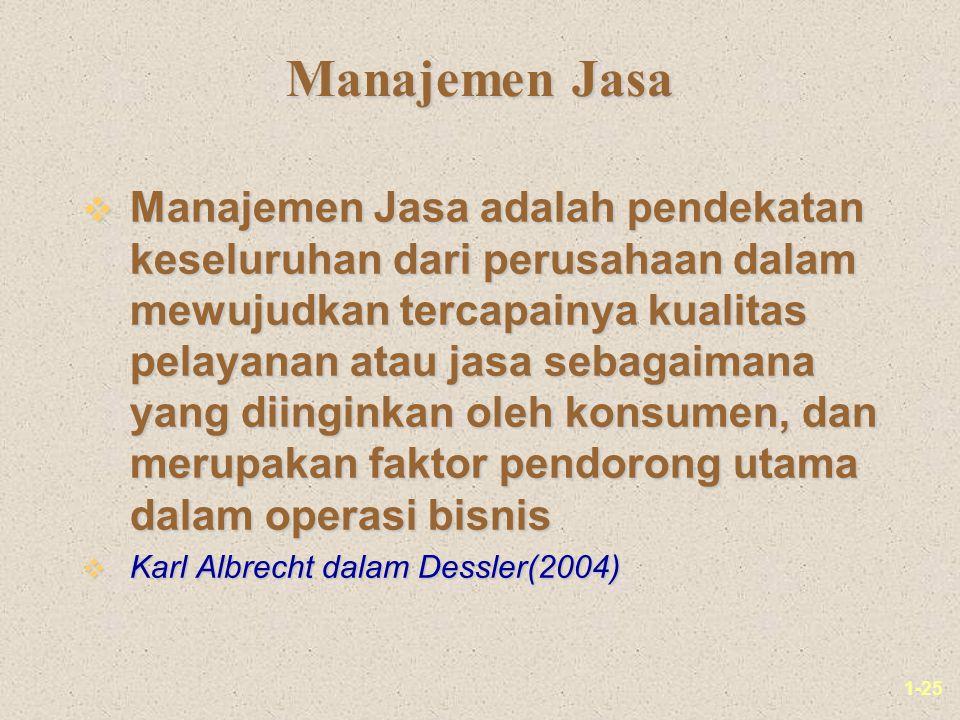 1-25 Manajemen Jasa v Manajemen Jasa adalah pendekatan keseluruhan dari perusahaan dalam mewujudkan tercapainya kualitas pelayanan atau jasa sebagaimana yang diinginkan oleh konsumen, dan merupakan faktor pendorong utama dalam operasi bisnis v Karl Albrecht dalam Dessler(2004)