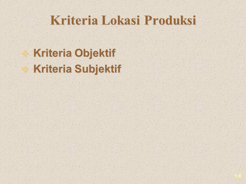 1-6 Kriteria Lokasi Produksi v Kriteria Objektif v Kriteria Subjektif