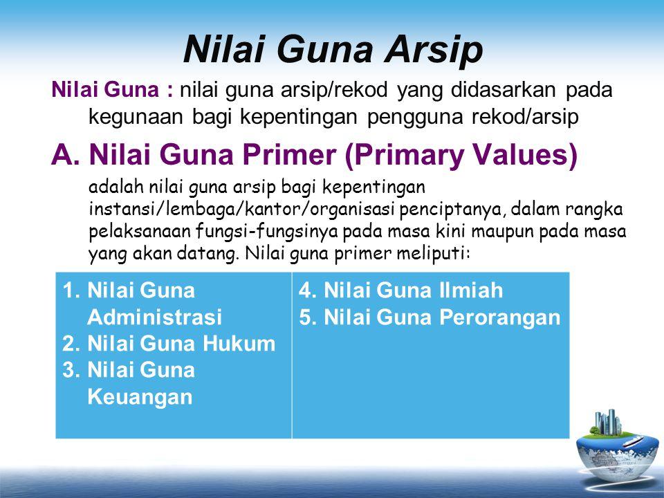 Nilai Guna Arsip Nilai Guna : nilai guna arsip/rekod yang didasarkan pada kegunaan bagi kepentingan pengguna rekod/arsip A.Nilai Guna Primer (Primary