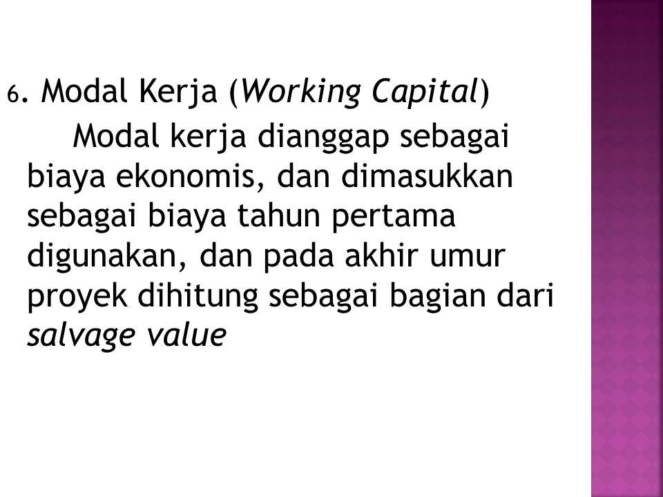 6. Modal Kerja (Working Capital) Modal kerja dianggap sebagai biaya ekonomis, dan dimasukkan sebagai biaya tahun pertama digunakan, dan pada akhir umu