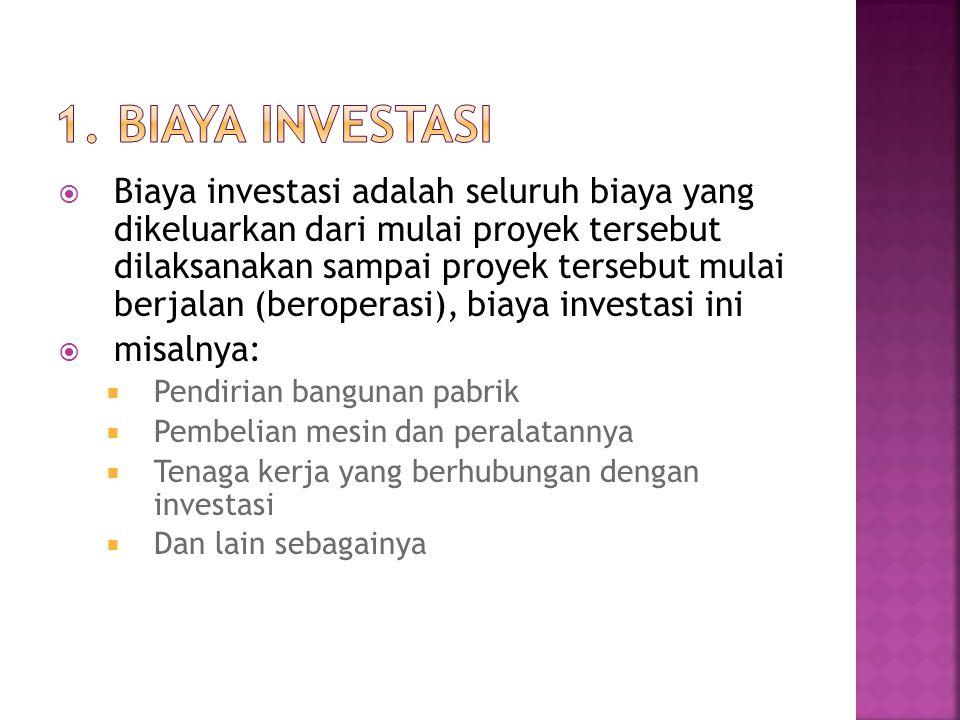  Biaya investasi adalah seluruh biaya yang dikeluarkan dari mulai proyek tersebut dilaksanakan sampai proyek tersebut mulai berjalan (beroperasi), bi