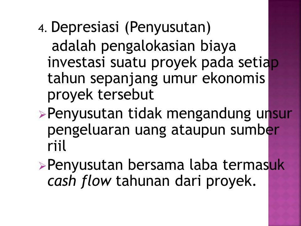 4. Depresiasi (Penyusutan) adalah pengalokasian biaya investasi suatu proyek pada setiap tahun sepanjang umur ekonomis proyek tersebut  Penyusutan ti