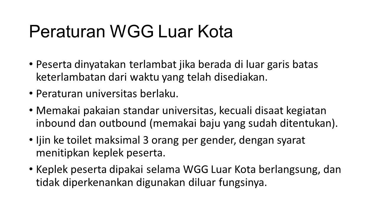 Peraturan WGG Luar Kota Peserta dinyatakan terlambat jika berada di luar garis batas keterlambatan dari waktu yang telah disediakan.