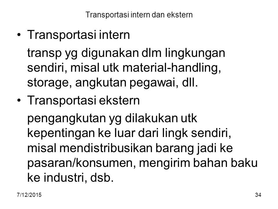 7/12/201534 Transportasi intern dan ekstern Transportasi intern transp yg digunakan dlm lingkungan sendiri, misal utk material-handling, storage, angk
