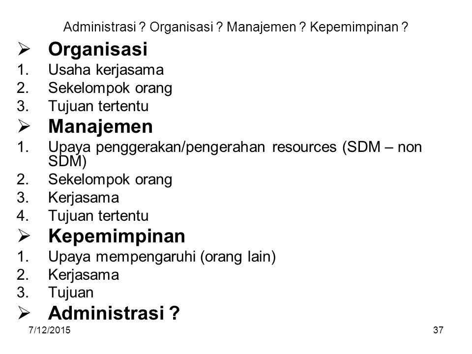 7/12/201537 Administrasi ? Organisasi ? Manajemen ? Kepemimpinan ?  Organisasi 1.Usaha kerjasama 2.Sekelompok orang 3.Tujuan tertentu  Manajemen 1.U