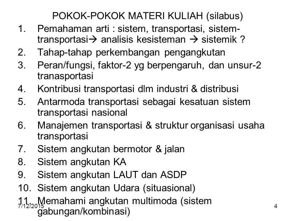 7/12/20154 POKOK-POKOK MATERI KULIAH (silabus) 1.Pemahaman arti : sistem, transportasi, sistem- transportasi  analisis kesisteman  sistemik ? 2.Taha