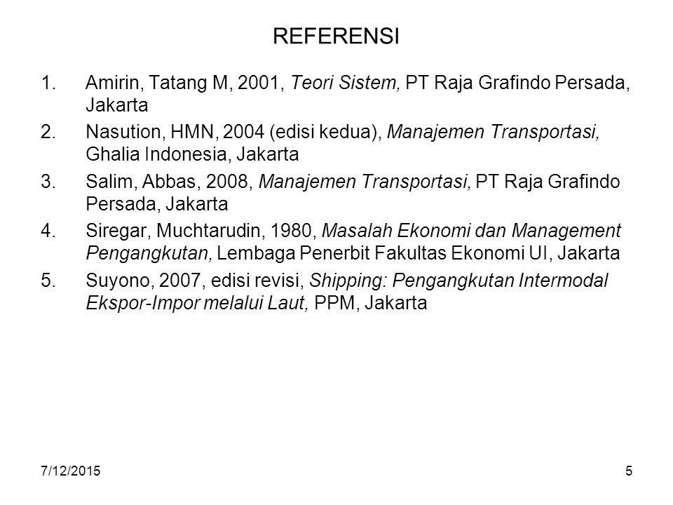 7/12/20155 REFERENSI 1.Amirin, Tatang M, 2001, Teori Sistem, PT Raja Grafindo Persada, Jakarta 2.Nasution, HMN, 2004 (edisi kedua), Manajemen Transpor