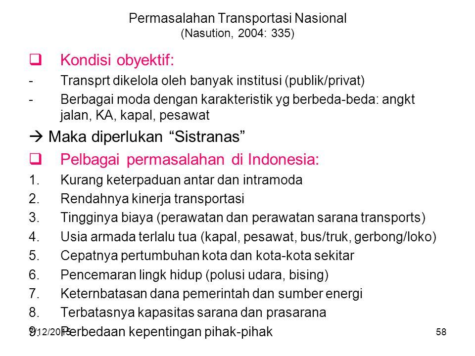 7/12/201558 Permasalahan Transportasi Nasional (Nasution, 2004: 335)  Kondisi obyektif: -Transprt dikelola oleh banyak institusi (publik/privat) -Ber