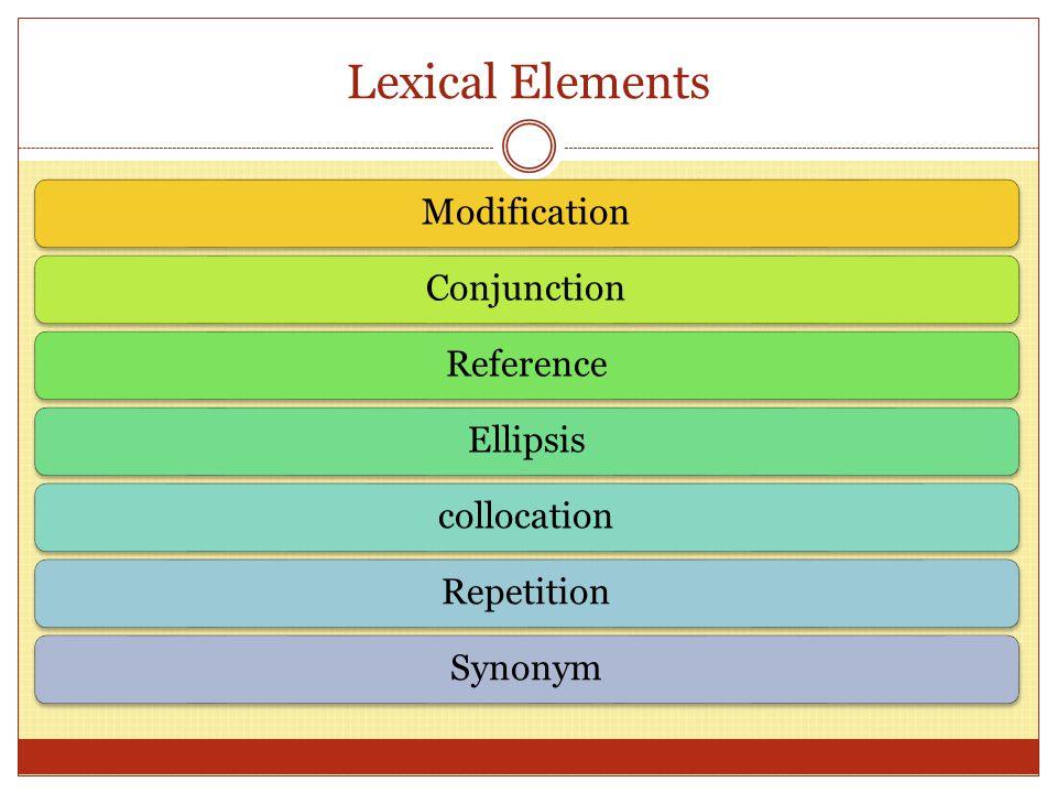 Lexical Elements ModificationConjunctionReferenceEllipsiscollocationRepetitionSynonym