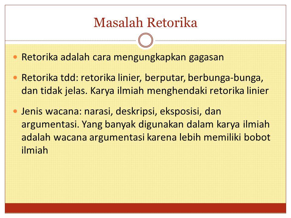 Masalah Retorika Retorika adalah cara mengungkapkan gagasan Retorika tdd: retorika linier, berputar, berbunga-bunga, dan tidak jelas. Karya ilmiah men