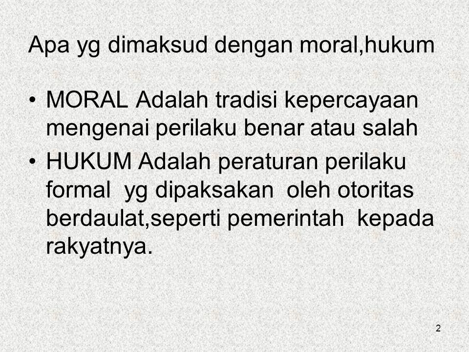 2 Apa yg dimaksud dengan moral,hukum MORAL Adalah tradisi kepercayaan mengenai perilaku benar atau salah HUKUM Adalah peraturan perilaku formal yg dipaksakan oleh otoritas berdaulat,seperti pemerintah kepada rakyatnya.