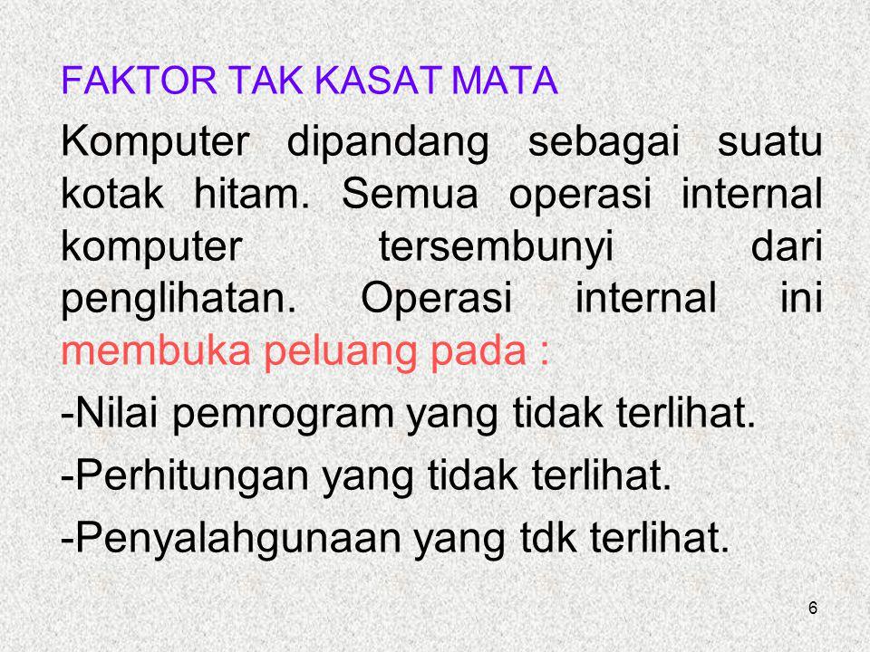 6 FAKTOR TAK KASAT MATA Komputer dipandang sebagai suatu kotak hitam. Semua operasi internal komputer tersembunyi dari penglihatan. Operasi internal i