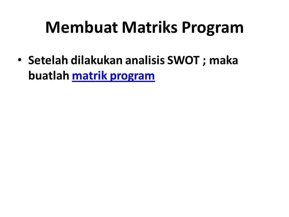 Membuat Matriks Program Setelah dilakukan analisis SWOT ; maka buatlah matrik programmatrik program