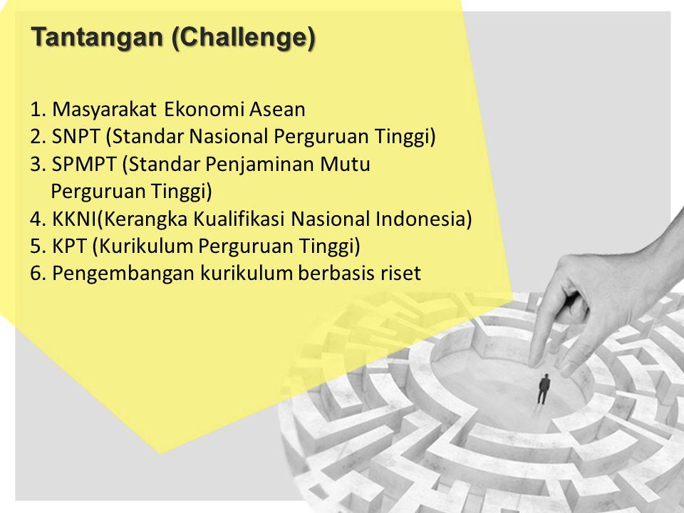 Tantangan (Challenge) 1. Masyarakat Ekonomi Asean 2. SNPT (Standar Nasional Perguruan Tinggi) 3. SPMPT (Standar Penjaminan Mutu Perguruan Tinggi) 4. K