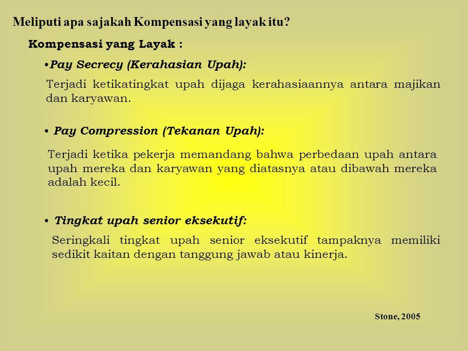 Kompensasi yang Layak : Pay Secrecy (Kerahasian Upah): Terjadi ketikatingkat upah dijaga kerahasiaannya antara majikan dan karyawan. Pay Compression (