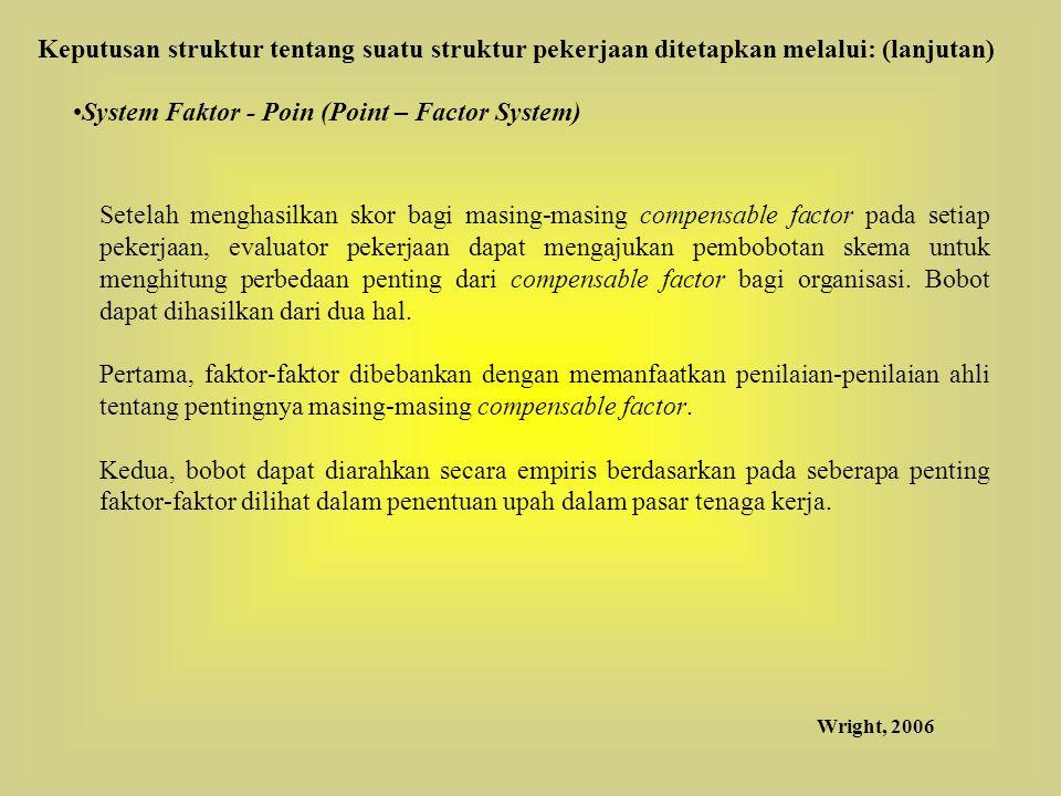 System Faktor - Poin (Point – Factor System) Setelah menghasilkan skor bagi masing-masing compensable factor pada setiap pekerjaan, evaluator pekerjaa