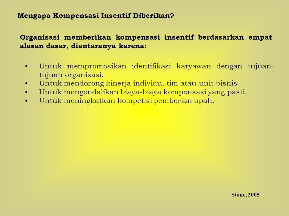 Mengapa Kompensasi Insentif Diberikan? Organisasi memberikan kompensasi insentif berdasarkan empat alasan dasar, diantaranya karena: Untuk mempromosik