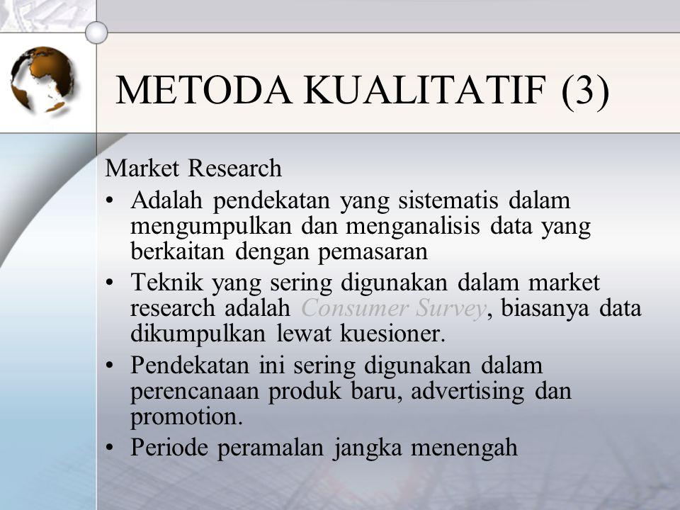 Market Research Adalah pendekatan yang sistematis dalam mengumpulkan dan menganalisis data yang berkaitan dengan pemasaran Teknik yang sering digunakan dalam market research adalah Consumer Survey, biasanya data dikumpulkan lewat kuesioner.