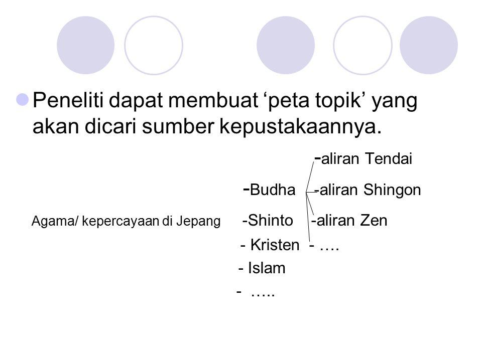 Peneliti dapat membuat 'peta topik' yang akan dicari sumber kepustakaannya. - aliran Tendai - Budha -aliran Shingon Agama/ kepercayaan di Jepang -Shin