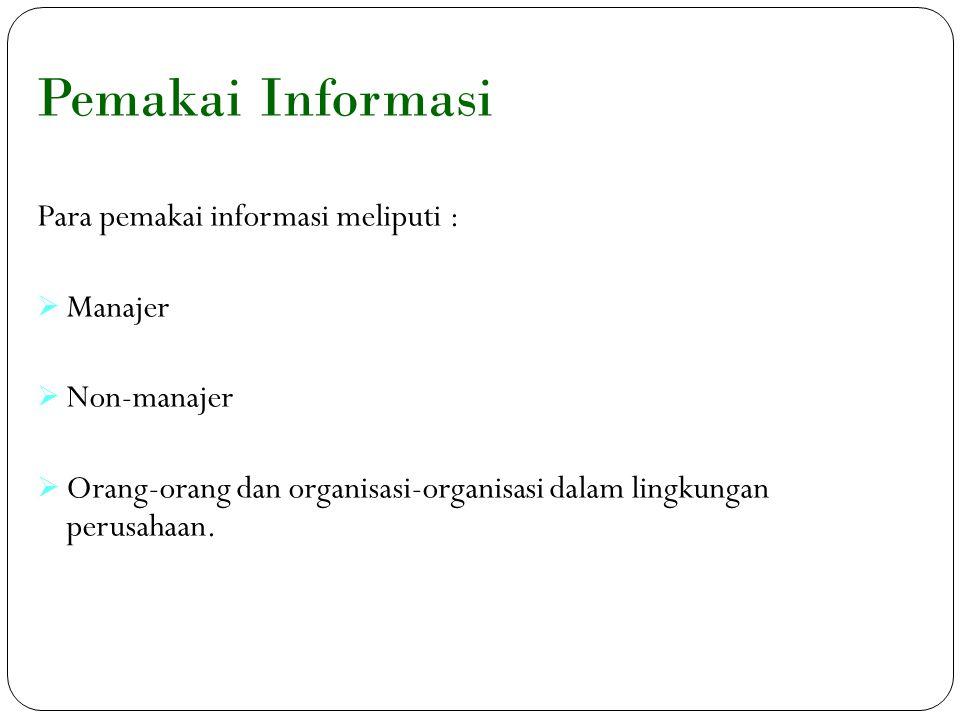Pemakai Informasi 10 Para pemakai informasi meliputi :  Manajer  Non-manajer  Orang-orang dan organisasi-organisasi dalam lingkungan perusahaan.