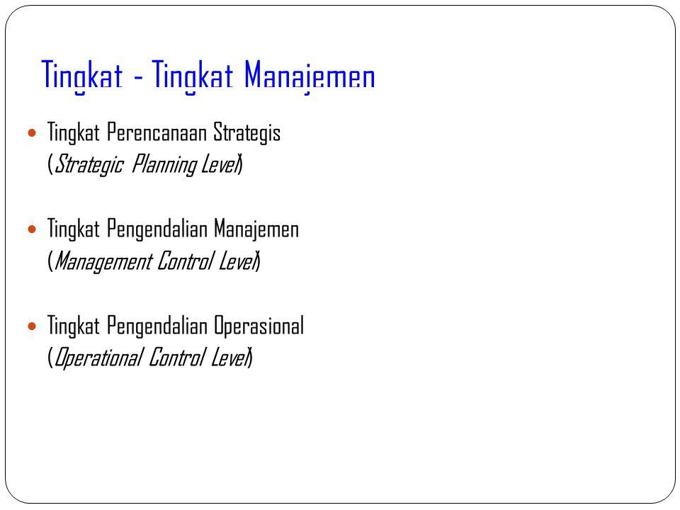 Tingkat - Tingkat Manajemen 11 Tingkat Perencanaan Strategis (Strategic Planning Level) Tingkat Pengendalian Manajemen (Management Control Level) Ting