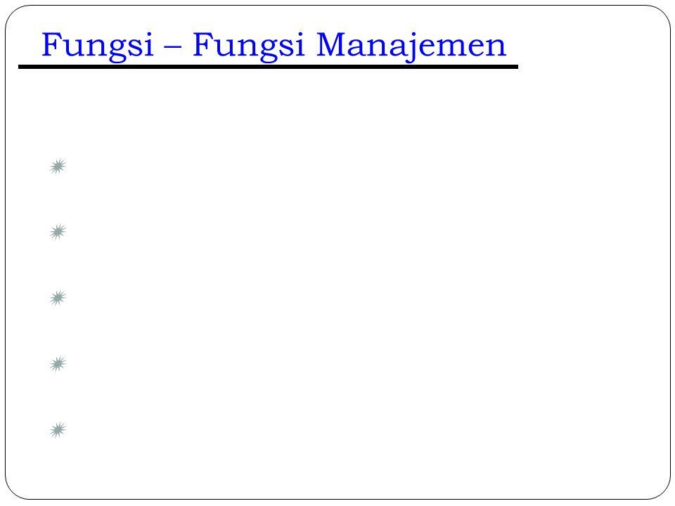 Fungsi – Fungsi Manajemen 12  Merencanakan (Plan)  Mengorganisasikan (Organize)  Menyusun Staff (Staff)  Mengarahkan (Direct)  Mengendalikan (Con