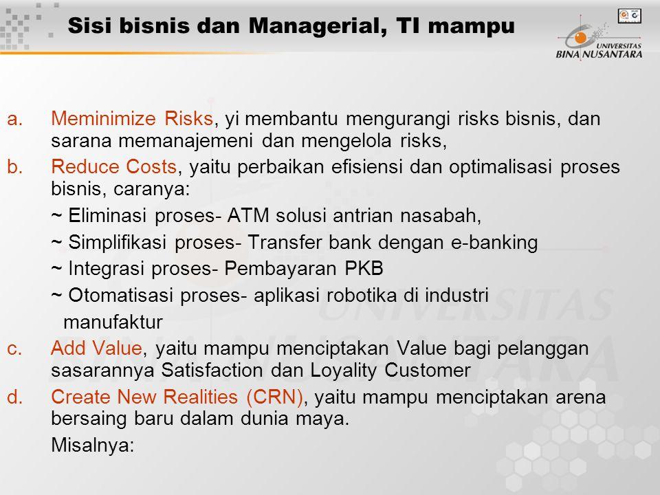 Sisi bisnis dan Managerial, TI mampu a.Meminimize Risks, yi membantu mengurangi risks bisnis, dan sarana memanajemeni dan mengelola risks, b.Reduce Costs, yaitu perbaikan efisiensi dan optimalisasi proses bisnis, caranya: ~ Eliminasi proses- ATM solusi antrian nasabah, ~ Simplifikasi proses- Transfer bank dengan e-banking ~ Integrasi proses- Pembayaran PKB ~ Otomatisasi proses- aplikasi robotika di industri manufaktur c.Add Value, yaitu mampu menciptakan Value bagi pelanggan sasarannya Satisfaction dan Loyality Customer d.Create New Realities (CRN), yaitu mampu menciptakan arena bersaing baru dalam dunia maya.