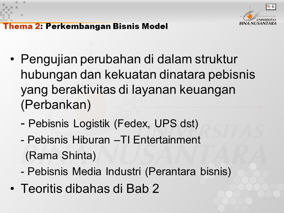Thema 2: Perkembangan Bisnis Model Pengujian perubahan di dalam struktur hubungan dan kekuatan dinatara pebisnis yang beraktivitas di layanan keuangan (Perbankan) - Pebisnis Logistik (Fedex, UPS dst) - Pebisnis Hiburan –TI Entertainment (Rama Shinta) - Pebisnis Media Industri (Perantara bisnis) Teoritis dibahas di Bab 2