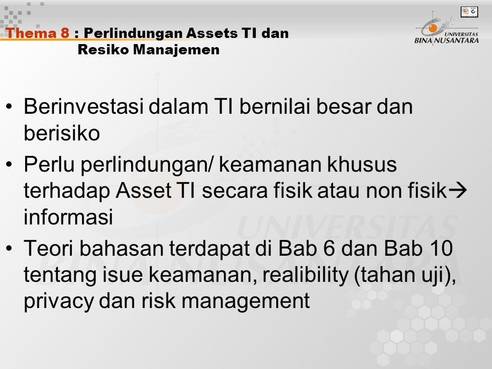 Thema 8 : Perlindungan Assets TI dan Resiko Manajemen Berinvestasi dalam TI bernilai besar dan berisiko Perlu perlindungan/ keamanan khusus terhadap Asset TI secara fisik atau non fisik  informasi Teori bahasan terdapat di Bab 6 dan Bab 10 tentang isue keamanan, realibility (tahan uji), privacy dan risk management