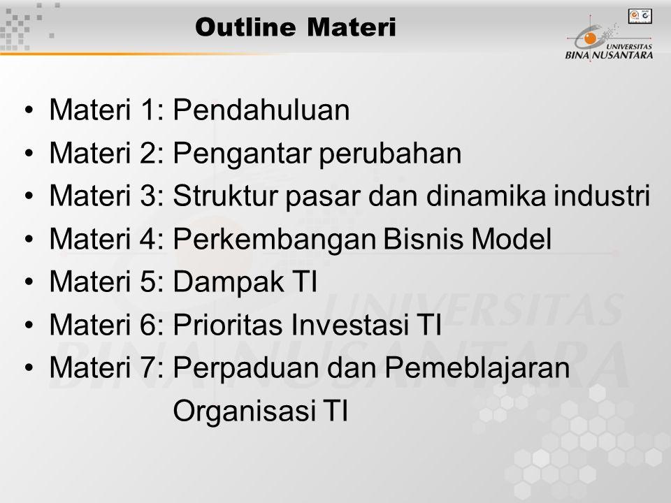 Outline Materi Materi 1: Pendahuluan Materi 2: Pengantar perubahan Materi 3: Struktur pasar dan dinamika industri Materi 4: Perkembangan Bisnis Model Materi 5: Dampak TI Materi 6: Prioritas Investasi TI Materi 7: Perpaduan dan Pemeblajaran Organisasi TI