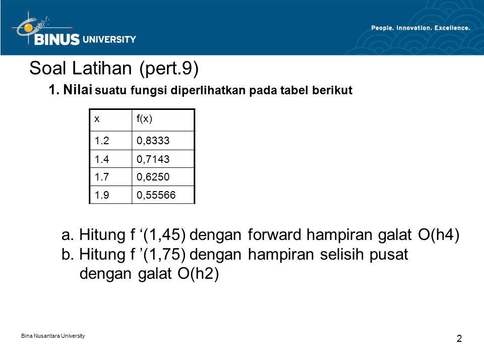 Bina Nusantara University 2 Soal Latihan (pert.9) xf(x) 1.20,8333 1.40,7143 1.70,6250 1.90,55566 1.