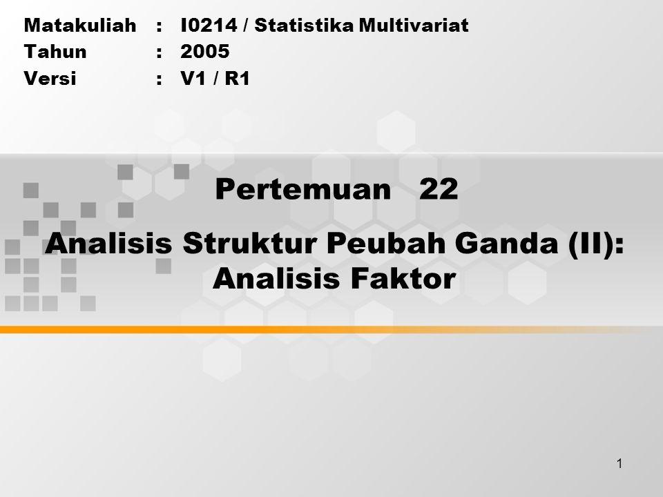 1 Pertemuan 22 Matakuliah: I0214 / Statistika Multivariat Tahun: 2005 Versi: V1 / R1 Analisis Struktur Peubah Ganda (II): Analisis Faktor