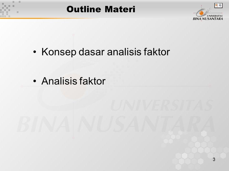 3 Outline Materi Konsep dasar analisis faktor Analisis faktor