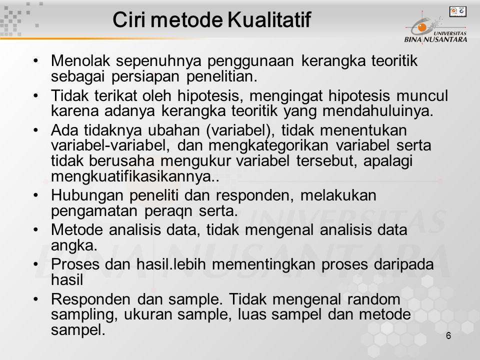 6 Ciri metode Kualitatif Menolak sepenuhnya penggunaan kerangka teoritik sebagai persiapan penelitian.