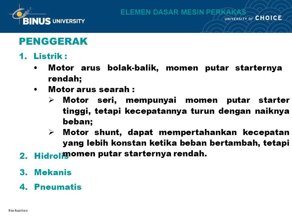 Bina Nusantara PENGGERAK 1.Listrik : Motor arus bolak-balik, momen putar starternya rendah; Motor arus searah : 2.Hidrolis 3.Mekanis 4.Pneumatis  Mot