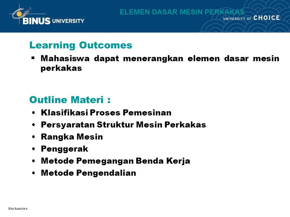 Bina Nusantara Learning Outcomes Outline Materi : ELEMEN DASAR MESIN PERKAKAS Mahasiswa dapat menerangkan elemen dasar mesin perkakas. Klasifikasi Pro