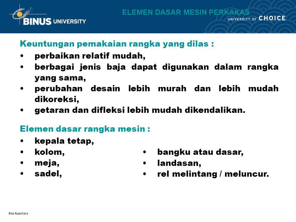 Bina Nusantara Keuntungan pemakaian rangka yang dilas : perbaikan relatif mudah, berbagai jenis baja dapat digunakan dalam rangka yang sama, perubahan