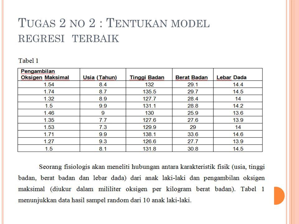 T UGAS 2 NO 2 : T ENTUKAN MODEL REGRESI TERBAIK