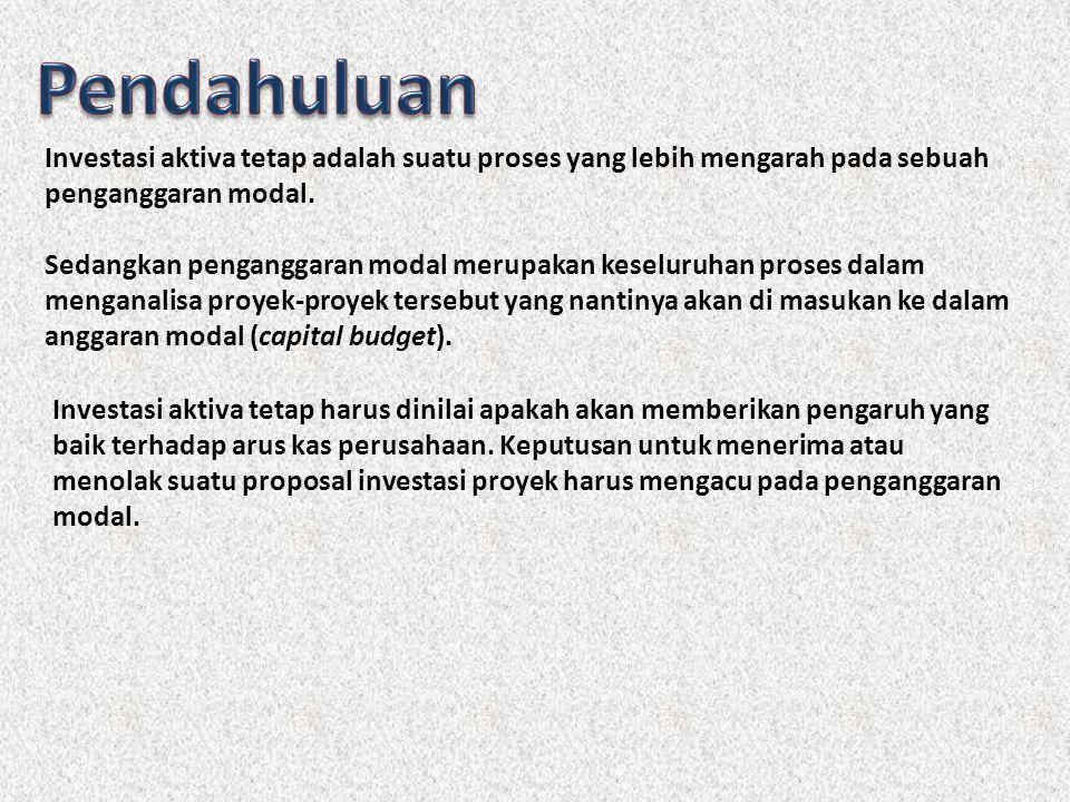 1.Beberapa Pengertian dalam Investasi Aktiva Tetap 2.Perputaran Dana yang diinvestasikan dalam Aktiva Tetap 3.Capital Budgeting (Anggaran Belanja Modal) 4.Penggolongan Investasi dalam Aktiva Tetap 5.Analisis Arus Kas (Cashflow Analysis) 6.Beberapa metode yang digunakan untuk menyeleksi usulan investasi a.Metode Payback Periode (PP) b.Net Present Value (NPV) c.Profitability Index (PI) d.Internal Rate of Return (IRR) e.Accounting Rate of Return (ARR) 7.Hubungan antara NPV dan IRR 8.Pencatuan Modal 9.Perluasan Penggunaan Konsep Nilai Sekarang ( Present Value)