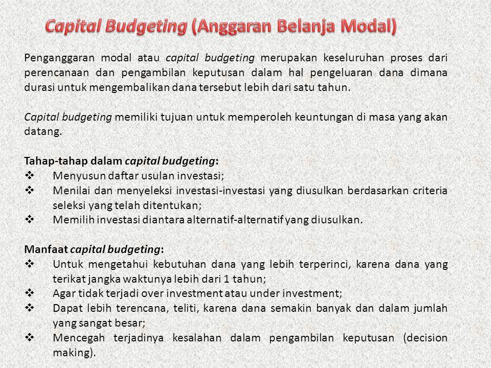 1.Investasi Penggantian 2.Investasi Penambahan Kapasitas 3.Investasi Penambahan Produk Baru 4.Investasi Lain-lain