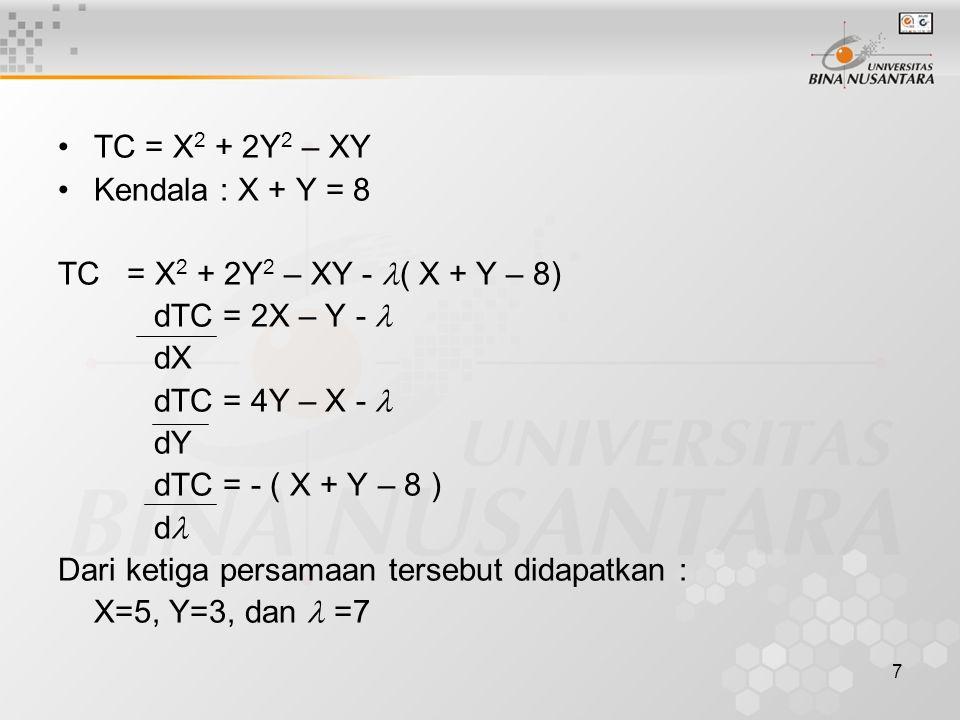 7 TC = X 2 + 2Y 2 – XY Kendala : X + Y = 8 TC = X 2 + 2Y 2 – XY - ( X + Y – 8) dTC = 2X – Y - dX dTC = 4Y – X - dY dTC = - ( X + Y – 8 ) d Dari ketiga