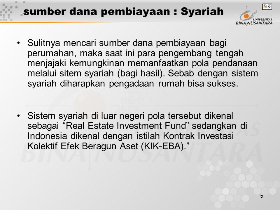 5 sumber dana pembiayaan : Syariah Sulitnya mencari sumber dana pembiayaan bagi perumahan, maka saat ini para pengembang tengah menjajaki kemungkinan memanfaatkan pola pendanaan melalui sitem syariah (bagi hasil).