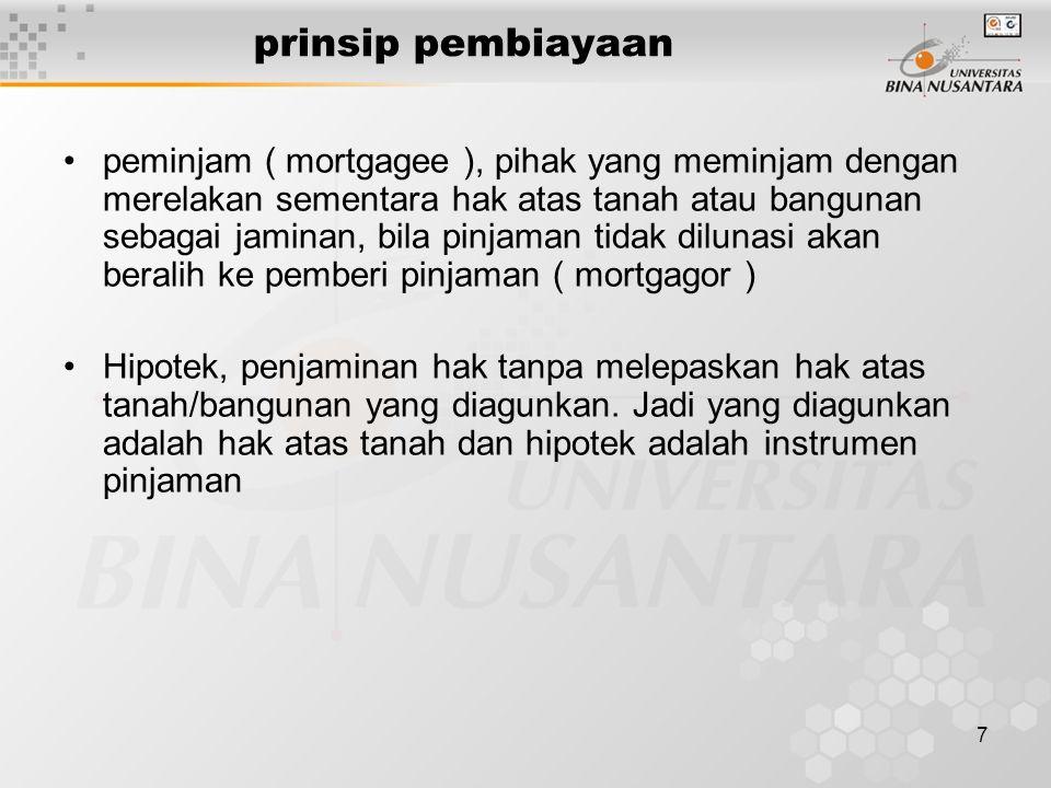 7 prinsip pembiayaan peminjam ( mortgagee ), pihak yang meminjam dengan merelakan sementara hak atas tanah atau bangunan sebagai jaminan, bila pinjaman tidak dilunasi akan beralih ke pemberi pinjaman ( mortgagor ) Hipotek, penjaminan hak tanpa melepaskan hak atas tanah/bangunan yang diagunkan.