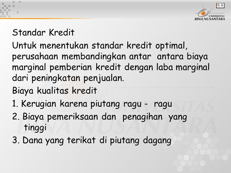 Standar Kredit Untuk menentukan standar kredit optimal, perusahaan membandingkan antar antara biaya marginal pemberian kredit dengan laba marginal dar