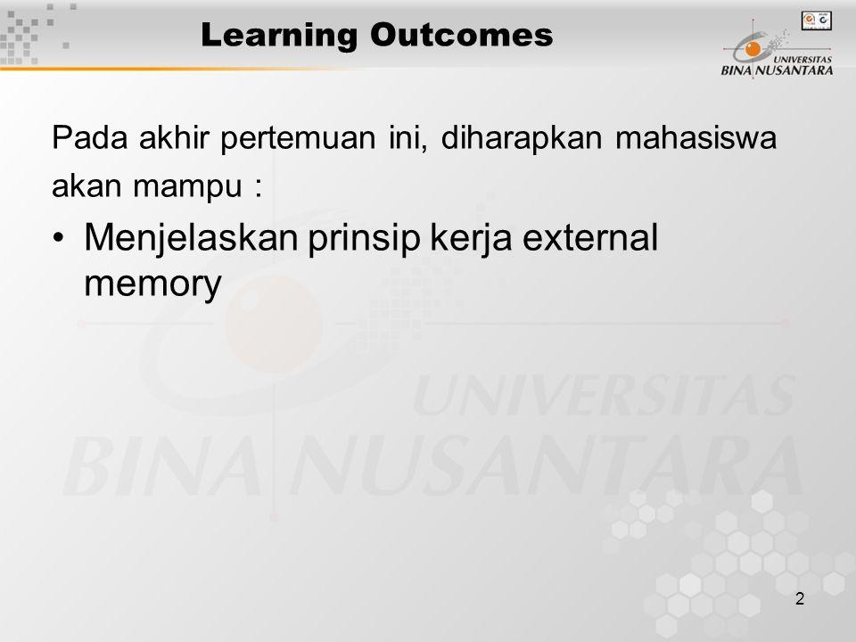 2 Learning Outcomes Pada akhir pertemuan ini, diharapkan mahasiswa akan mampu : Menjelaskan prinsip kerja external memory