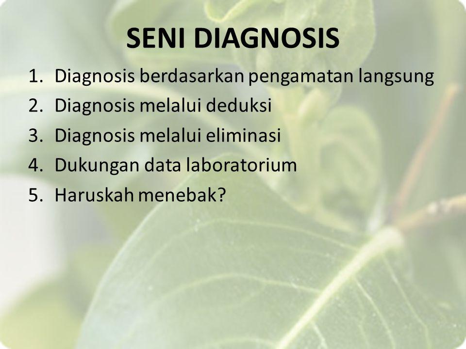 SENI DIAGNOSIS 1.Diagnosis berdasarkan pengamatan langsung 2.Diagnosis melalui deduksi 3.Diagnosis melalui eliminasi 4.Dukungan data laboratorium 5.Ha