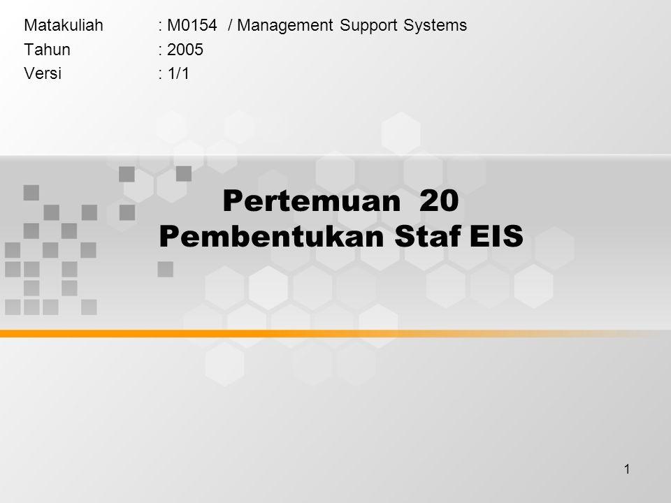 1 Pertemuan 20 Pembentukan Staf EIS Matakuliah: M0154 / Management Support Systems Tahun: 2005 Versi: 1/1