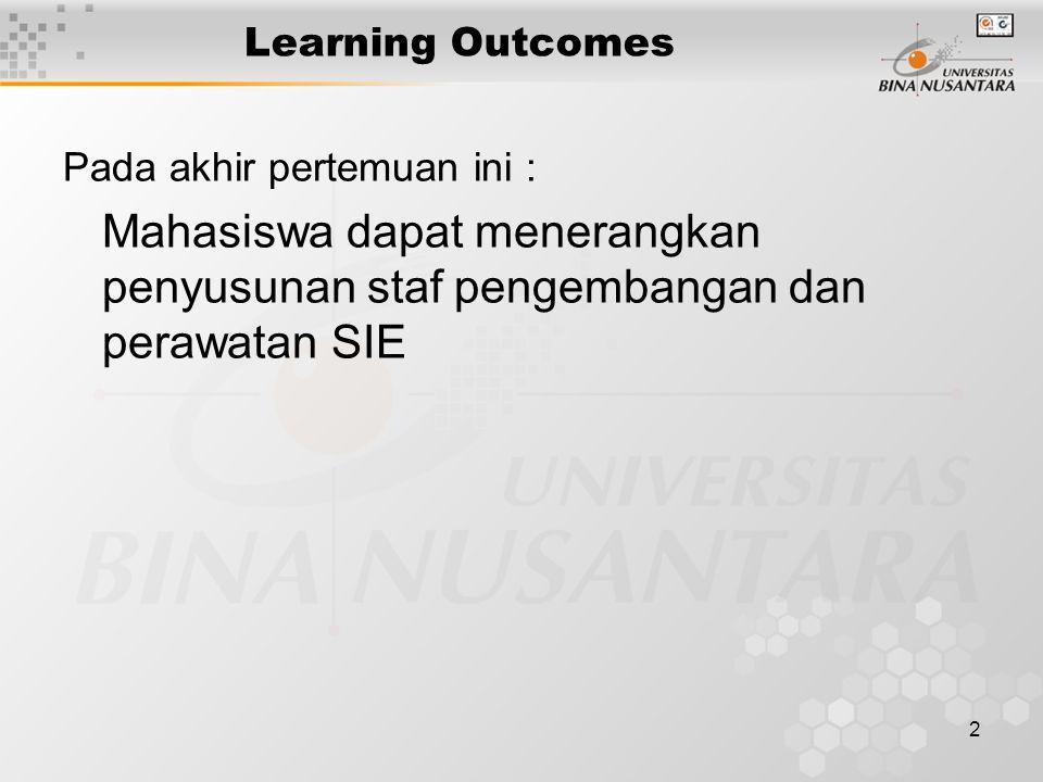 2 Learning Outcomes Pada akhir pertemuan ini : Mahasiswa dapat menerangkan penyusunan staf pengembangan dan perawatan SIE