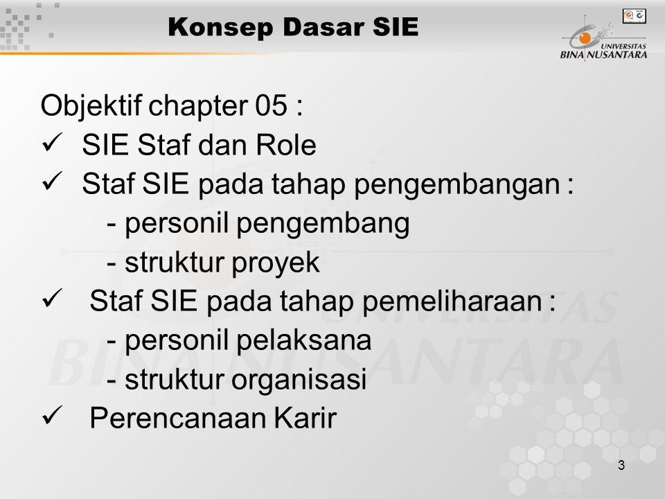 14 Penempatan Staff EIS Staff EIS dapat melapor langsung ke Wakil Direktur Sistem Informasi atau ke Wakil Direktur Fungsional Model Organisasi dapat sentralisasi atau desentralisasi.