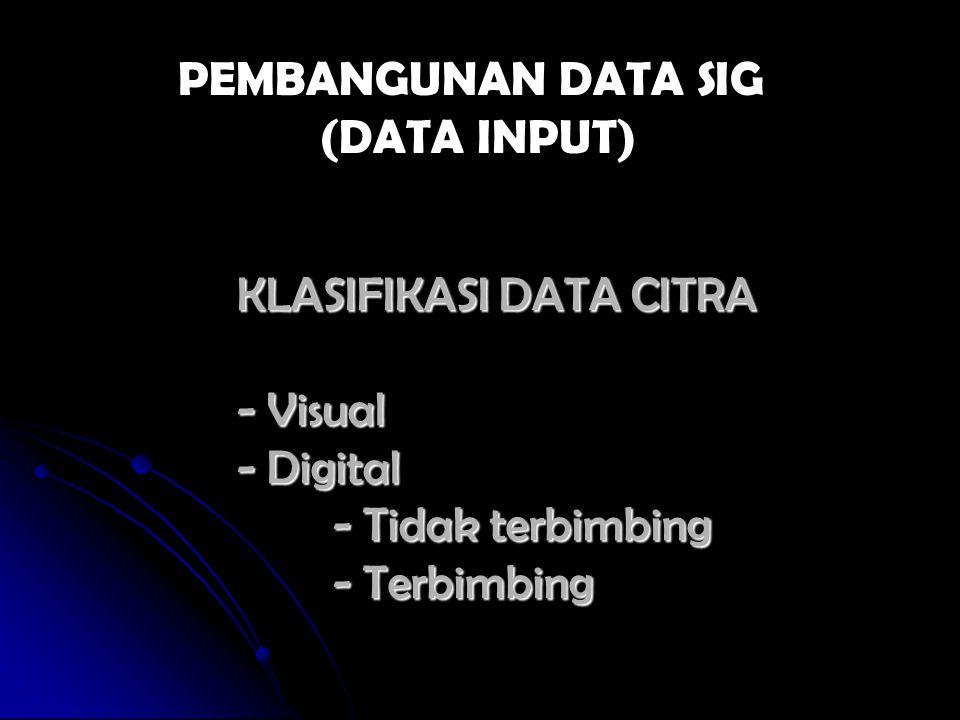 KLASIFIKASI DATA CITRA - Visual - Digital - Tidak terbimbing - Terbimbing PEMBANGUNAN DATA SIG (DATA INPUT)